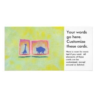 Buffalo and Giraffe original art modern painting Card