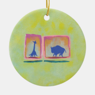 Buffalo and Giraffe original art modern painting Christmas Tree Ornaments