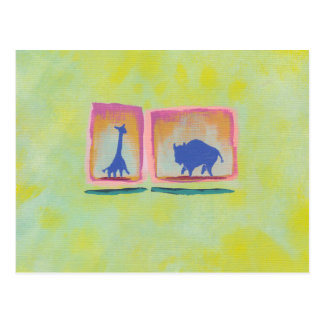 Buffalo and Giraffe original art modern painting Postcard