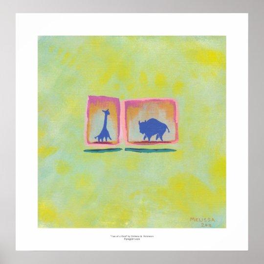 Buffalo and Giraffe original art modern painting Poster