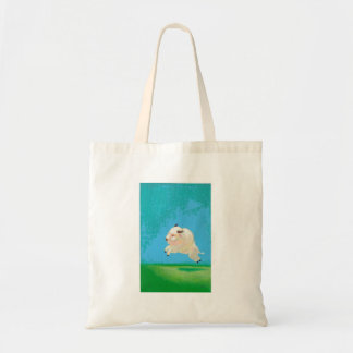 Buffalo art fun happy leaping white bison painting tote bags