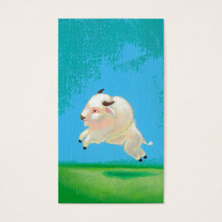 Buffalo art fun happy leaping white bison painting business card