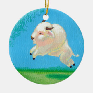 Buffalo art fun happy leaping white bison painting ceramic ornament