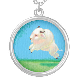 Buffalo art fun happy leaping white bison painting custom necklace