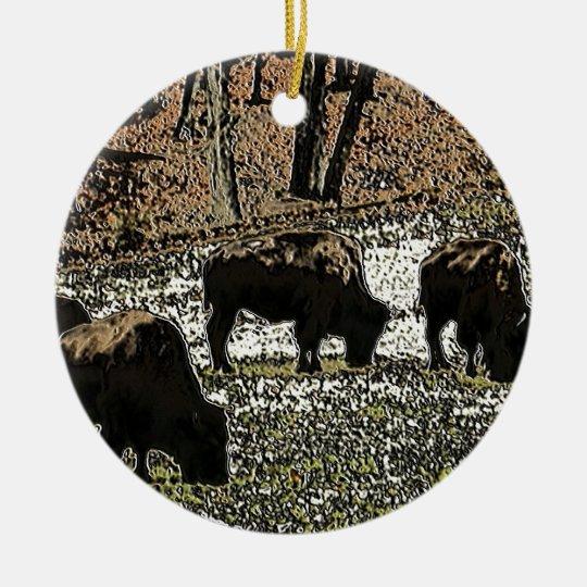 Buffalo Art Wild West Western Theme Ceramic Ornament
