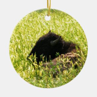 Buffalo at Rest Ceramic Ornament