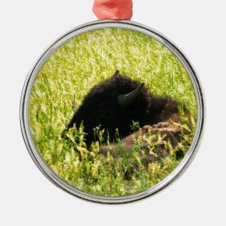 Buffalo at Rest Metal Ornament