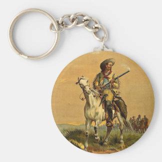 """Buffalo Bill anuncio del vintage """"del explorador"""" Llavero Redondo Tipo Pin"""