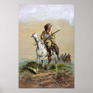 Buffalo Bill Cody, 1872. Vintage Advertising Poster