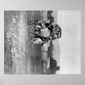 """Buffalo Bill"" Cody Riding Horse next to Native Poster"