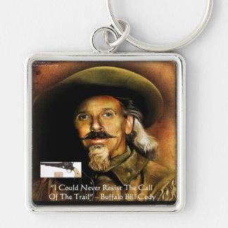 Buffalo Bill Cody su arma y regalos y tarjetas de  Llavero Cuadrado Plateado