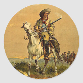 "Buffalo Bill ""The Scout"" Vintage Advertisement Classic Round Sticker"