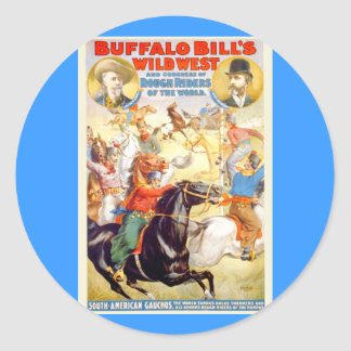 Buffalo Bill Wild West Show Poster Apparel, Gifts Classic Round Sticker