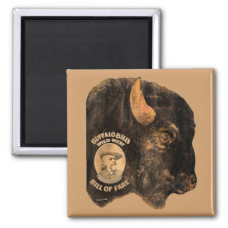 Buffalo Bill's Wild West Show vintage 1898 2 Inch Square Magnet