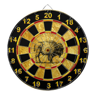 Buffalo Bison an gold foil plated numbers Dartboard
