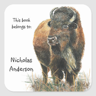 Buffalo Bison Animal Nature art Custom Bookplate