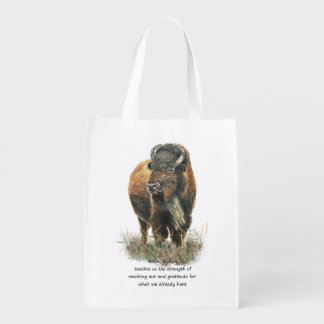 Buffalo Bison Animal Totem Spirit Guide Art Grocery Bag