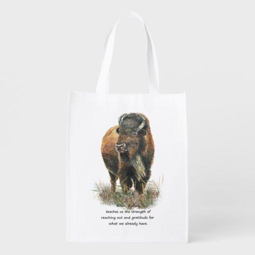 Buffalo Bison Animal Totem Spirit Guide Art Grocery Bag