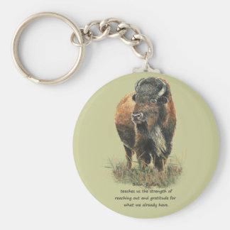 Buffalo Bison Animal Totem Spirit Guide Basic Round Button Keychain