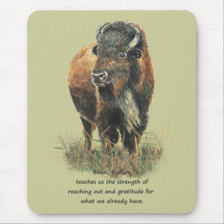 Buffalo Bison Animal Totem Spirit Guide Mouse Pad