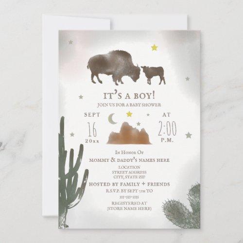 Buffalo Bison Desert Cactus Baby Shower Invitation