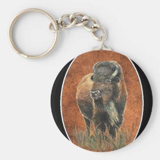 Buffalo, Bison, Tracks Watercolor Animal Keychain