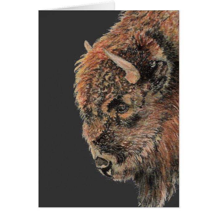 Buffalo, Bison, Watercolor Animal Card