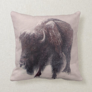 Buffalo Blizzard   painting Throw Pillows