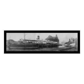 Buffalo Boat Docks NY Photo 1909 Posters