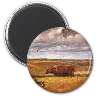 Buffalo Bones Plowed Under by Harvey Thomas Dunn 2 Inch Round Magnet