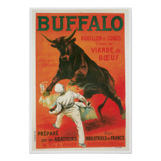 Buffalo Bouillon Cubes Vintage Food Ad Art Poster