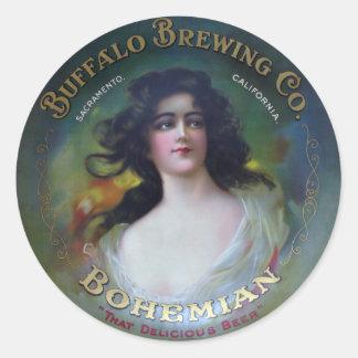 Buffalo Brewing Company, Sacramento, CA Pegatina Redonda