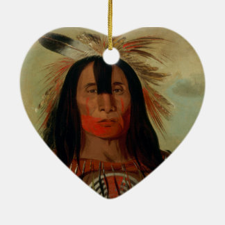 Buffalo Bull's Back Fat Head Chief Blood Tribe Double-Sided Heart Ceramic Christmas Ornament