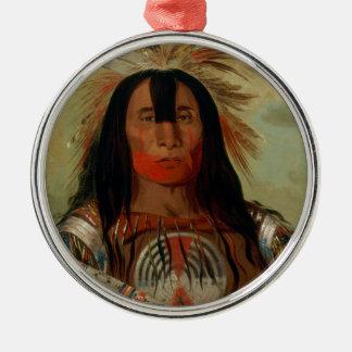 Buffalo Bull's Back Fat Head Chief Blood Tribe Round Metal Christmas Ornament