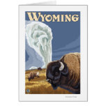 Buffalo by Old Faithful Vintage Travel Poster Card
