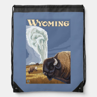 Buffalo by Old Faithful Vintage Travel Poster Drawstring Backpack