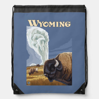 Buffalo by Old Faithful Vintage Travel Poster Drawstring Bag