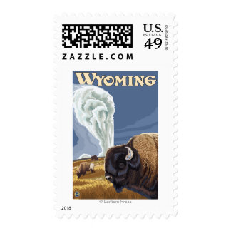 Buffalo by Old Faithful Vintage Travel Poster Postage
