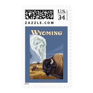 Buffalo by Old Faithful Vintage Travel Poster Postage Stamp