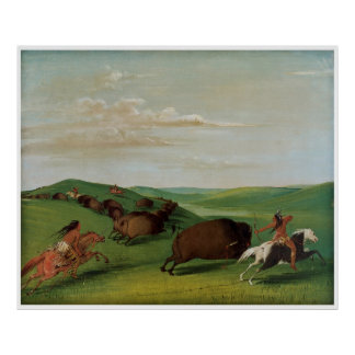 Buffalo Chase with Bows and Lances by Catlin Poster