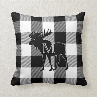 Buffalo Check Black White | Monogrammed Moose Throw Pillow