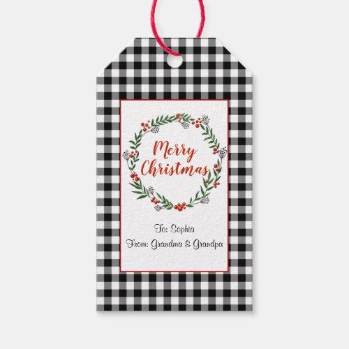 Buffalo Check Christmas Gift Tags