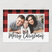 Buffalo Check Christmas Photo Card