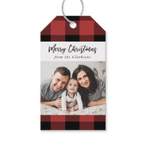 Buffalo Check Christmas Photo Gift Tag