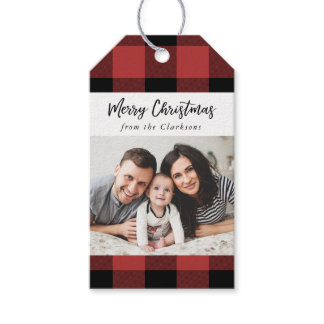 Buffalo Check Christmas Photo Gift Tag