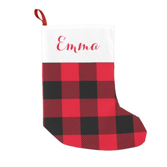 Buffalo Check Holiday Red Insert Name Small Christmas Stocking