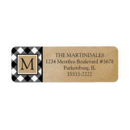 Buffalo Check Plaid Kraft Paper Monogram Label