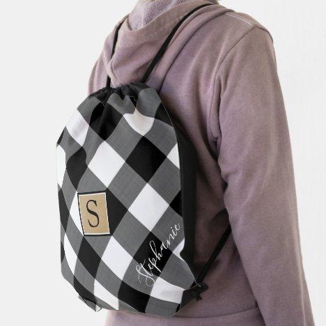 Buffalo Check Plaid  Monogram Name Black White Drawstring Bag