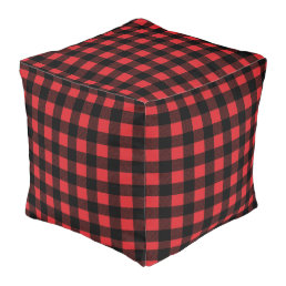 Buffalo Check Red Plaid Pouf