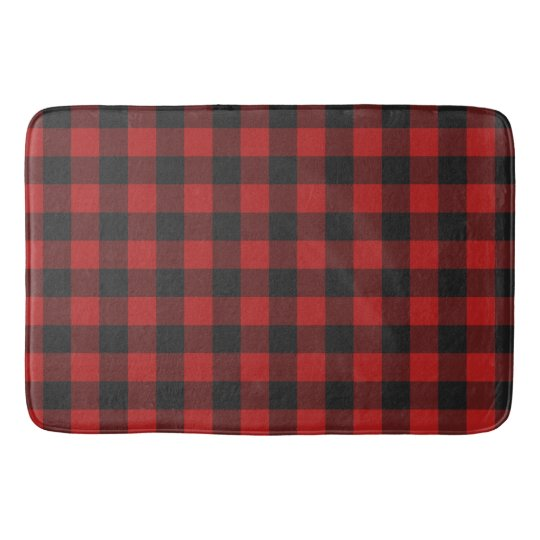 Buffalo Checked Red And Black Gingham Pattern Bath Mat